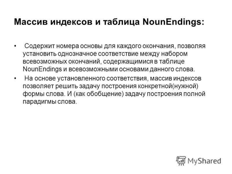 Массив индексов и таблица NounEndings: Содержит номера основы для каждого окончания, позволяя установить однозначное соответствие между набором всевозможных окончаний, содержащимися в таблице NounEndings и всевозможными основами данного слова. На осн