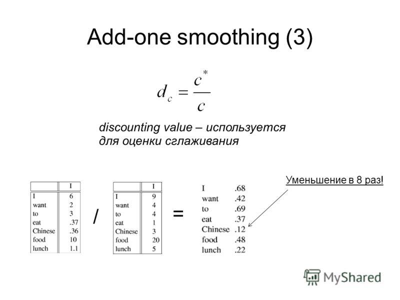 Add-one smoothing (3) discounting value – используется для оценки сглаживания Уменьшение в 8 раз! / =