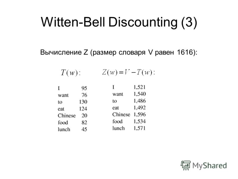 Witten-Bell Discounting (3) Вычисление Z (размер словаря V равен 1616):
