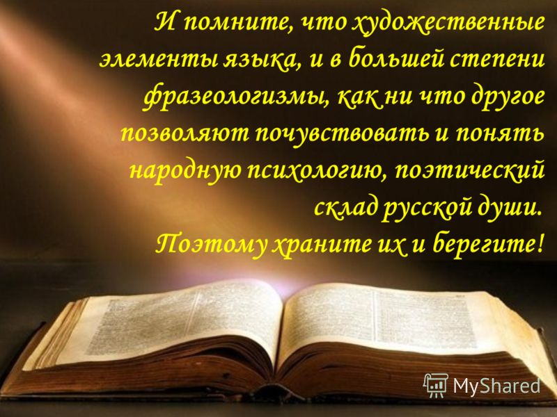 И помните, что художественные элементы языка, и в большей степени фразеологизмы, как ни что другое позволяют почувствовать и понять народную психологию, поэтический склад русской души. Поэтому храните их и берегите!