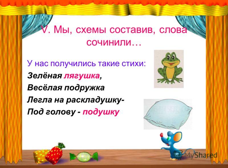 V. Мы, схемы составив, слова сочинили… У нас получились такие стихи: Зелёная лягушка, Весёлая подружка Легла на раскладушку- Под голову - подушку