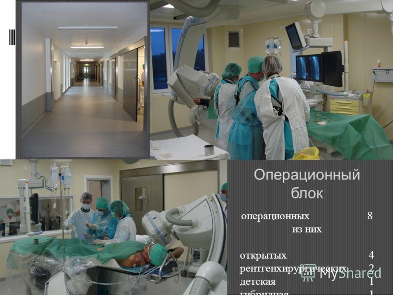 Операционный блок операционных 8 из них открытых 4 рентгенхирургических 2 детская 1 гибридная 1