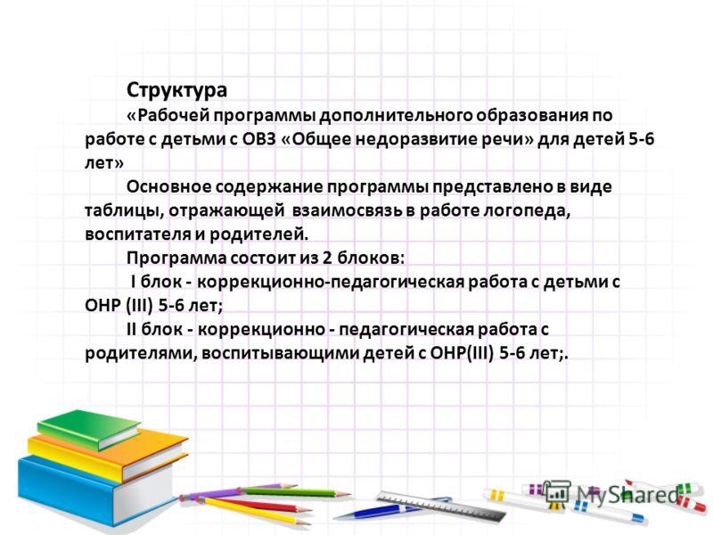 Структура «Рабочей программы дополнительного образования по работе с детьми с ОВЗ «Общее недоразвитие речи» для детей 5-6 лет» Основное содержание программы представлено в виде таблицы, отражающей взаимосвязь в работе логопеда, воспитателя и родителе