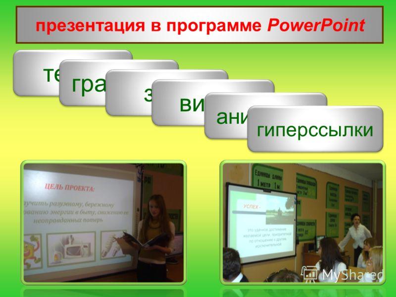презентация в программе PowerPoint текст графика звук видео анимации гиперссылки