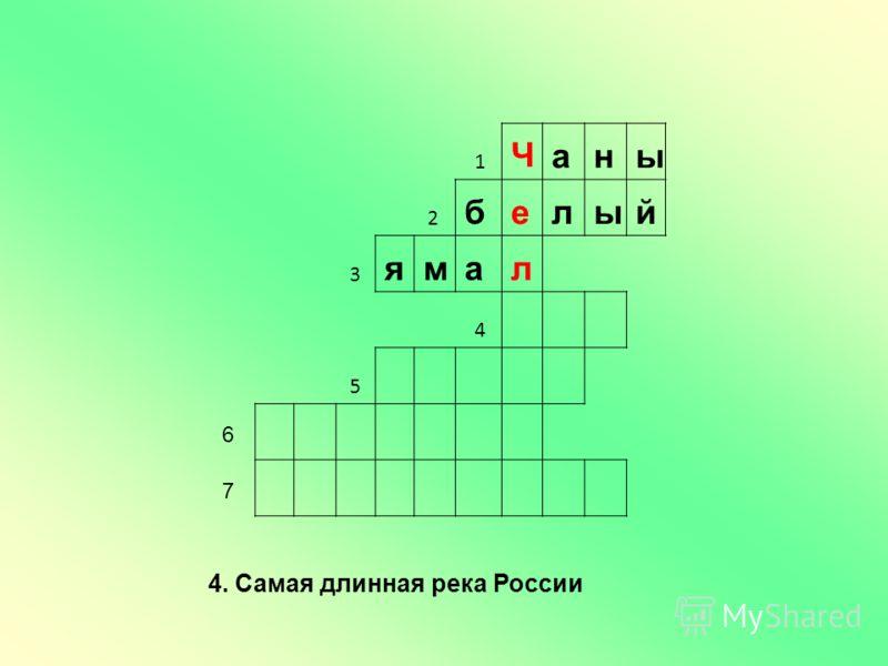 1 Чаны 2 белый 3 ямал 4 5 6 7 4. Самая длинная река России