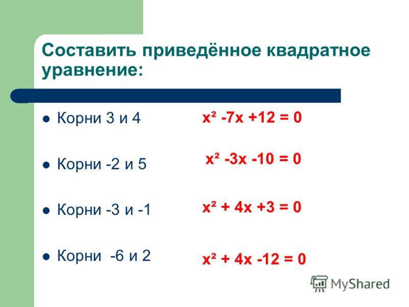 Составить приведённое квадратное уравнение: Корни 3 и 4 Корни -2 и 5 Корни -3 и -1 Корни -6 и 2 х² -7х +12 = 0 х² -3х -10 = 0 х² + 4х +3 = 0 х² + 4х -12 = 0