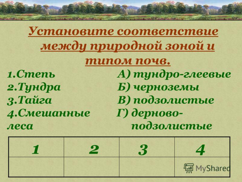 Установите соответствие между природной зоной и типом почв. 1.Степь А) тундро-глеевые 2.Тундра Б) черноземы 3.Тайга В) подзолистые 4.Смешанные Г) дерново- леса подзолистые 1 43 2