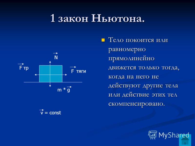 1 закон Ньютона. Тело покоится или равномерно прямолинейно движется только тогда, когда на него не действуют другие тела или действие этих тел скомпенсировано. N F m * g F тр тяги v = const