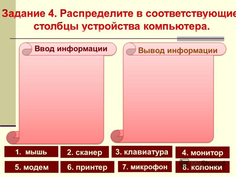 1. мышь 4. монитор 2. сканер 8. колонки 7. микрофон 5. модем6. принтер 3. клавиатура Вывод информации Ввод информации