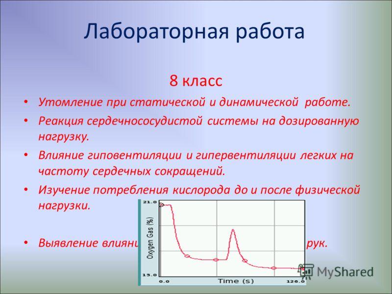 Лабораторная работа 8 класс Утомление при статической и динамической работе. Реакция сердечнососудистой системы на дозированную нагрузку. Влияние гиповентиляции и гипервентиляции легких на частоту сердечных сокращений. Изучение потребления кислорода