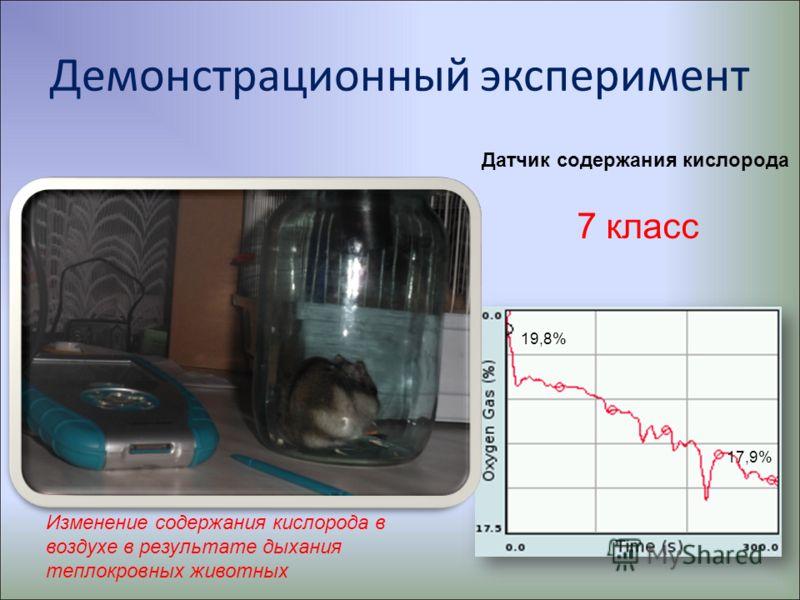 Демонстрационный эксперимент 17,9% 19,8% Изменение содержания кислорода в воздухе в результате дыхания теплокровных животных 7 класс Датчик содержания кислорода
