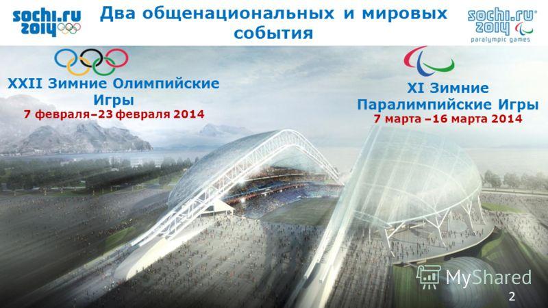 2 Add text 2 Два общенациональных и мировых события XXII Зимние Олимпийские Игры 7 февраля–23 февраля 2014 XI Зимние Паралимпийские Игры 7 марта –16 марта 2014 2