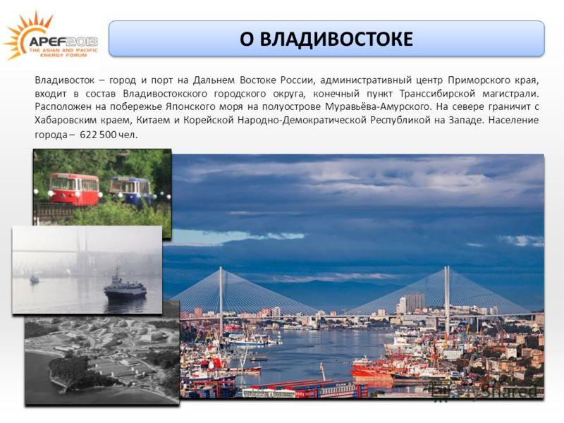 Владивосток – город и порт на Дальнем Востоке России, административный центр Приморского края, входит в состав Владивостокского городского округа, конечный пункт Транссибирской магистрали. Расположен на побережье Японского моря на полуострове Муравьё