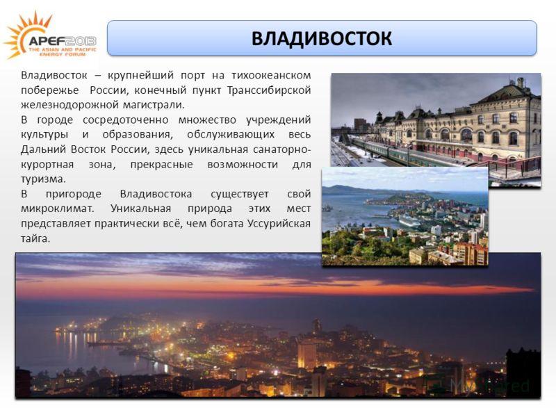 Владивосток – крупнейший порт на тихоокеанском побережье России, конечный пункт Транссибирской железнодорожной магистрали. В городе сосредоточенно множество учреждений культуры и образования, обслуживающих весь Дальний Восток России, здесь уникальная