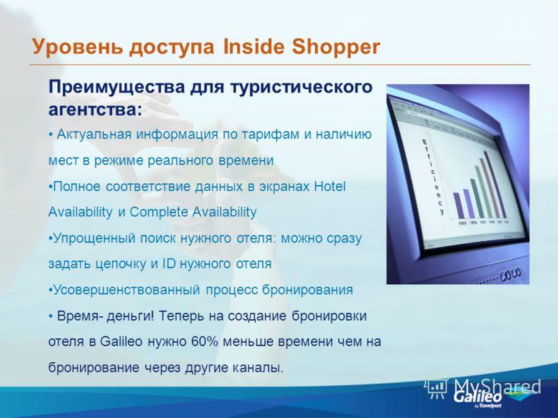 Уровень доступа Inside Shopper Преимущества для туристического агентства: Актуальная информация по тарифам и наличию мест в режиме реального времени Полное соответствие данных в экранах Hotel Availability и Complete Availability Упрощенный поиск нужн