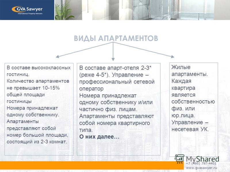 +7 (495) 797-4401 www.gvasawyer.ru ВИДЫ АПАРТАМЕНТОВ В составе высококлассных гостиниц. Количество апартаментов не превышает 10-15% общей площади гостиницы Номера принадлежат одному собственнику. Апартаменты представляют собой номер большой площади,