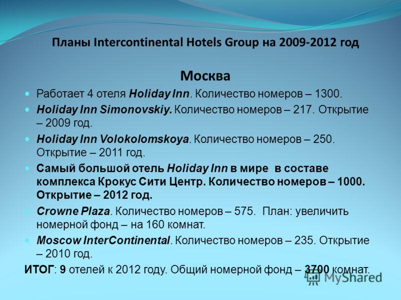 Планы Intercontinental Hotels Group на 2009-2012 год Москва Работает 4 отеля Holiday Inn. Количество номеров – 1300. Holiday Inn Simonovskiy. Количество номеров – 217. Открытие – 2009 год. Holiday Inn Volokolomskoya. Количество номеров – 250. Открыти