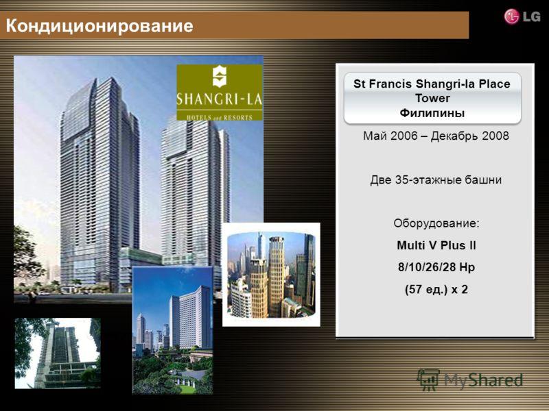 Технический этаж St Francis Shangri-la Place Tower Филипины Май 2006 – Декабрь 2008 Две 35-этажные башни Оборудование: Multi V Plus II 8/10/26/28 Hp (57 ед.) x 2 Кондиционирование