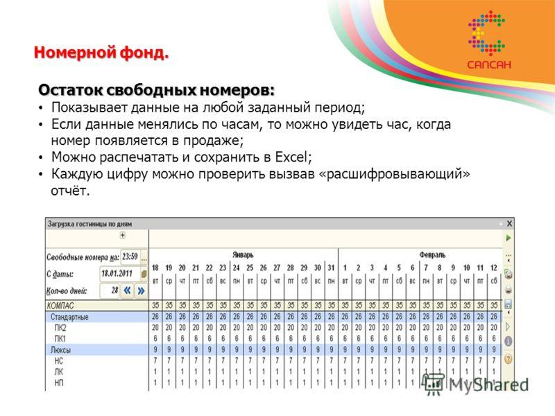 Номерной фонд. Остаток свободных номеров: Показывает данные на любой заданный период; Если данные менялись по часам, то можно увидеть час, когда номер появляется в продаже; Можно распечатать и сохранить в Excel; Каждую цифру можно проверить вызвав «р