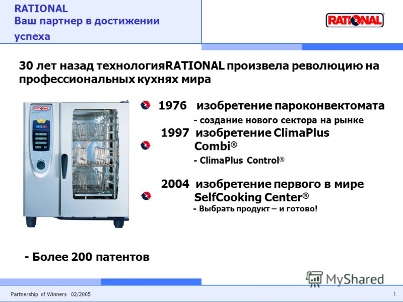 1 Partnership of Winners 02/2005 RATIONAL Ваш партнер в достижении успеха 30 лет назад технологияRATIONAL произвела революцию на профессиональных кухнях мира 1976 изобретение пароконвектомата - создание нового сектора на рынке 1997 изобретение ClimaP