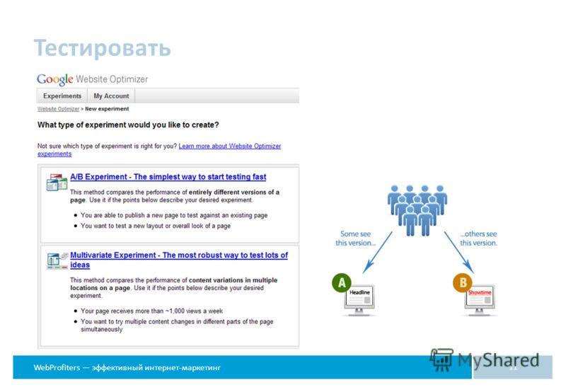 WebProfiters эффективный интернет-маркетинг Тестировать 11