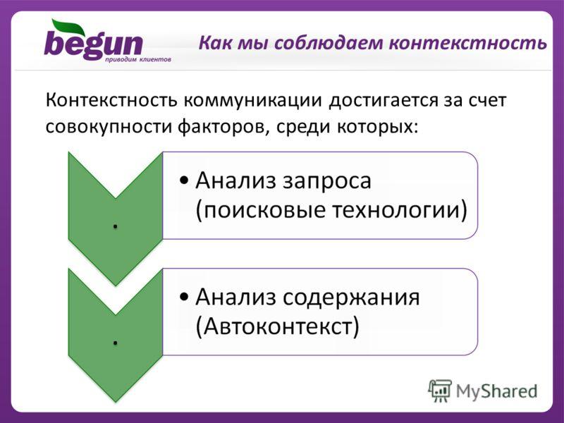 Как мы соблюдаем контекстность Контекстность коммуникации достигается за счет совокупности факторов, среди которых:
