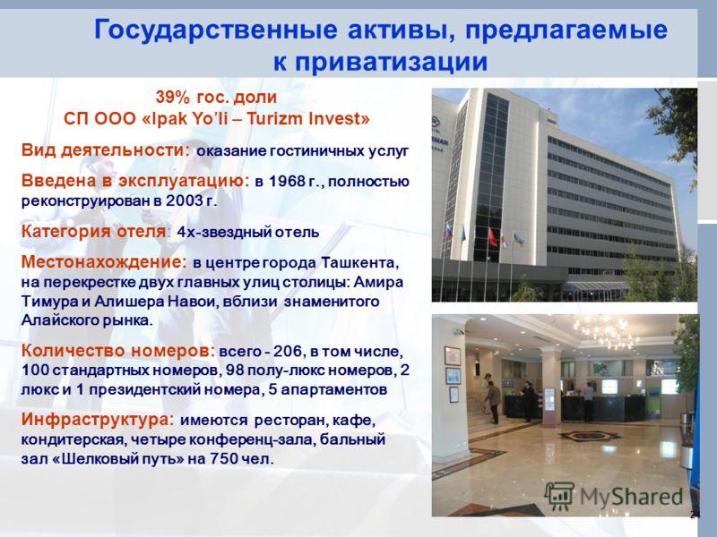 Государственные активы, предлагаемые к приватизации 24 39% гос. доли СП ООО « Ipak Yo li – Turizm Invest » Вид деятельности: оказание гостиничны х услуг Введена в эксплуатацию: в 1968 г., полностью реконструирован в 2003 г. Категория отеля : 4х-звезд