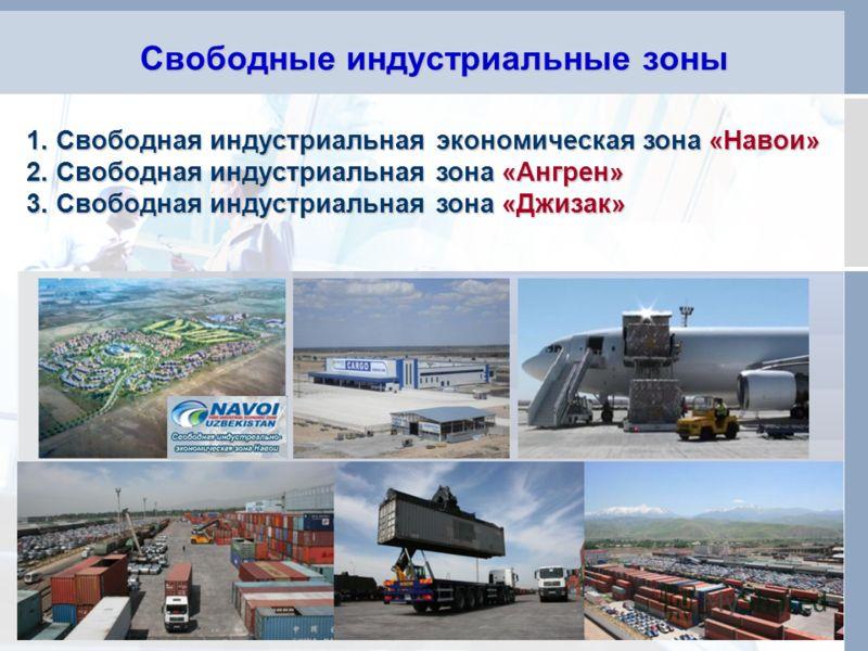Свободные индустриальные зоны 5 1. Свободная индустриальная экономическая зона «Навои» 2. Свободная индустриальная зона «Ангрен» 3. Свободная индустриальная зона «Джизак»