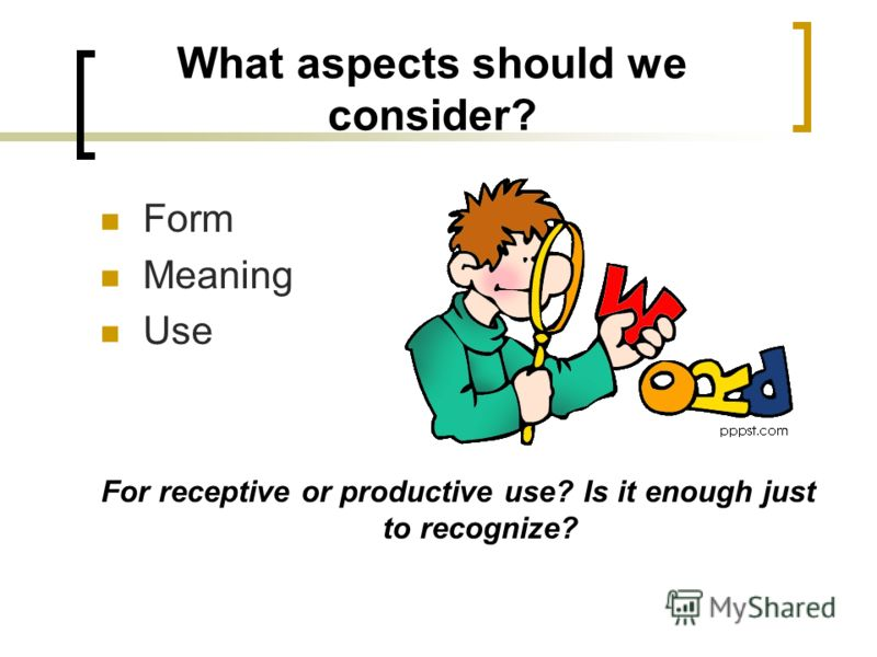 What aspects should we consider? Form Meaning Use For receptive or productive use? Is it enough just to recognize?