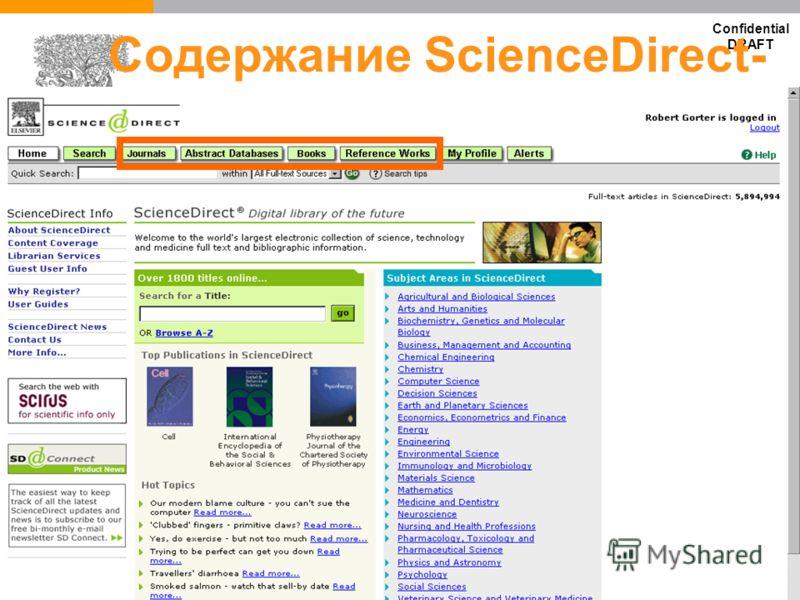 Confidential DRAFT Содержание ScienceDirect- Журналы