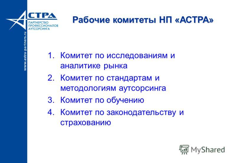 Рабочие комитеты НП «АСТРА» 1.Комитет по исследованиям и аналитике рынка 2.Комитет по стандартам и методологиям аутсорсинга 3.Комитет по обучению 4.Комитет по законодательству и страхованию