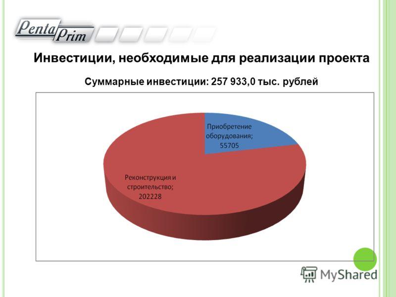 Инвестиции, необходимые для реализации проекта Суммарные инвестиции: 257 933,0 тыс. рублей