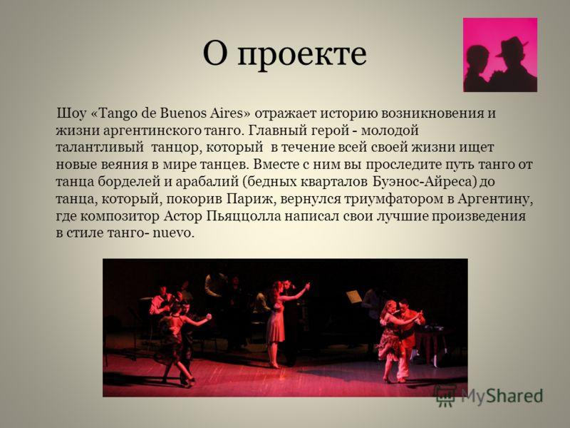 О проекте Шоу «Tango de Buenos Aires» отражает историю возникновения и жизни аргентинского танго. Главный герой - молодой талантливый танцор, который в течение всей своей жизни ищет новые веяния в мире танцев. Вместе с ним вы проследите путь танго от
