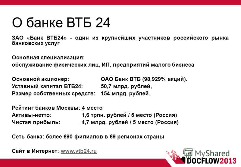 О банке ВТБ 24 ЗАО «Банк ВТБ24» - один из крупнейших участников российского рынка банковских услуг Основная специализация: обслуживание физических лиц, ИП, предприятий малого бизнеса Основной акционер: ОАО Банк ВТБ (98,929% акций). Уставный капитал В