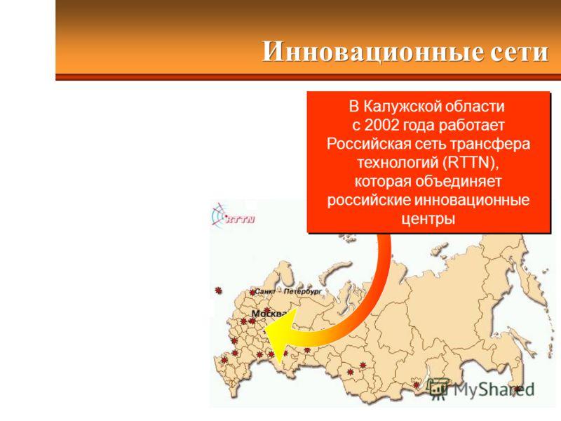 Инновационные сети В Калужской области с 2002 года работает Российская сеть трансфера технологий (RTTN), которая объединяет российские инновационные центры В Калужской области с 2002 года работает Российская сеть трансфера технологий (RTTN), которая