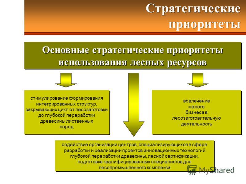 Основные стратегические приоритеты использования лесных ресурсов Основные стратегические приоритеты использования лесных ресурсов стимулирование формирования интегрированных структур, закрывающих цикл от лесозаготовки до глубокой переработки древесин