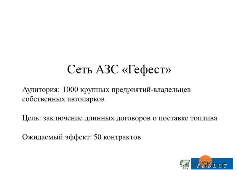 Сеть АЗС «Гефест» Аудитория: 1000 крупных предриятий-владельцев собственных автопарков Цель: заключение длинных договоров о поставке топлива Ожидаемый эффект: 50 контрактов