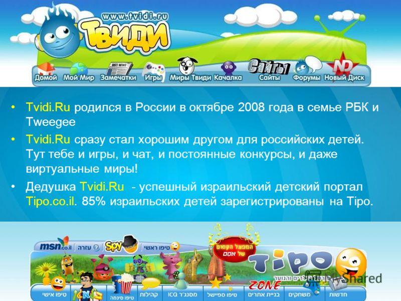 Tvidi.Ru родился в России в октябре 2008 года в семье РБК и Tweegee Tvidi.Ru сразу стал хорошим другом для российских детей. Тут тебе и игры, и чат, и постоянные конкурсы, и даже виртуальные миры! Дедушка Tvidi.Ru - успешный израильский детский порта