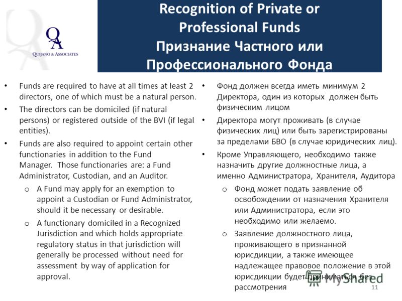 11 Recognition of Private or Professional Funds Признание Частного или Профессионального Фонда Funds are required to have at all times at least 2 directors, one of which must be a natural person. The directors can be domiciled (if natural persons) or