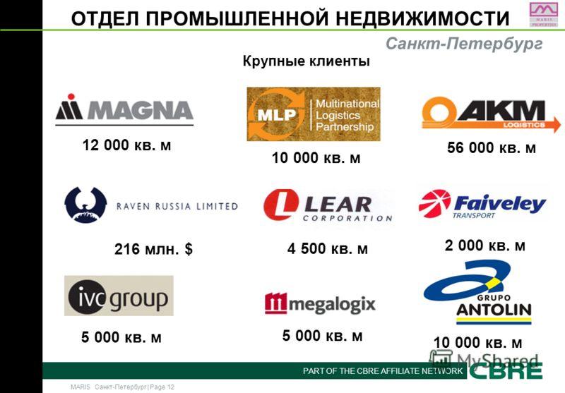 MARIS Санкт-Петербург | Page 12 PART OF THE CBRE AFFILIATE NETWORK ОТДЕЛ ПРОМЫШЛЕННОЙ НЕДВИЖИМОСТИ Крупные клиенты Санкт-Петербург 12 000 кв. м 5 000 кв. м 10 000 кв. м 56 000 кв. м 5 000 кв. м 4 500 кв. м 216 млн. $ 2 000 кв. м