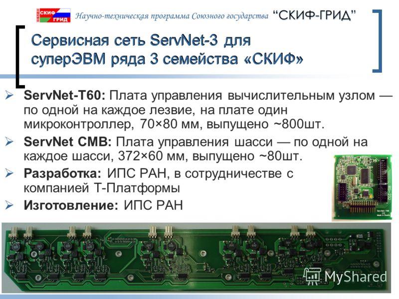 10.06.2013Слайд 21 Сервисная сеть ServNet-3 для суперЭВМ ряда 3 семейства «СКИФ» ServNet-T60: Плата управления вычислительным узлом по одной на каждое лезвие, на плате один микроконтроллер, 70×80 мм, выпущено ~800шт. ServNet CMB: Плата управления шас