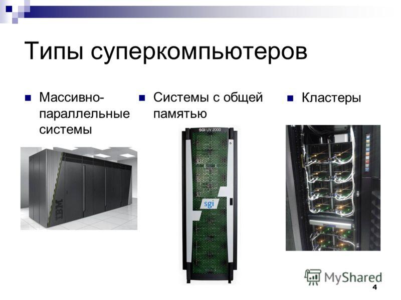 4 Типы суперкомпьютеров Массивно- параллельные системы Системы с общей памятью Кластеры