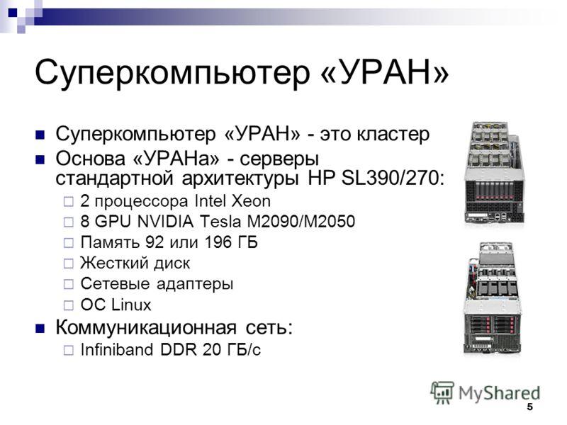 5 Суперкомпьютер «УРАН» Суперкомпьютер «УРАН» - это кластер Основа «УРАНа» - серверы стандартной архитектуры HP SL390/270: 2 процессора Intel Xeon 8 GPU NVIDIA Tesla M2090/M2050 Память 92 или 196 ГБ Жесткий диск Сетевые адаптеры ОС Linux Коммуникацио
