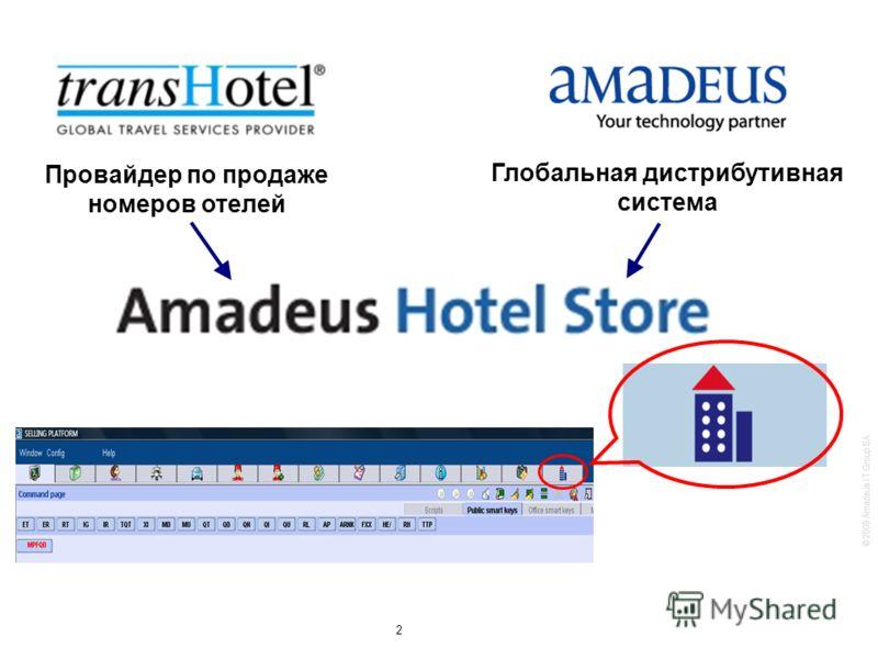 © 2009 Amadeus IT Group SA 2 Провайдер по продаже номеров отелей Глобальная дистрибутивная система