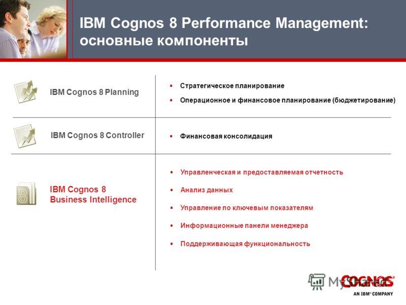 IBM Cognos 8 Planning IBM Cognos 8 Controller IBM Cognos 8 Business Intelligence Стратегическое планирование Операционное и финансовое планирование (бюджетирование) Финансовая консолидация Управленческая и предоставляемая отчетность Анализ данных Упр