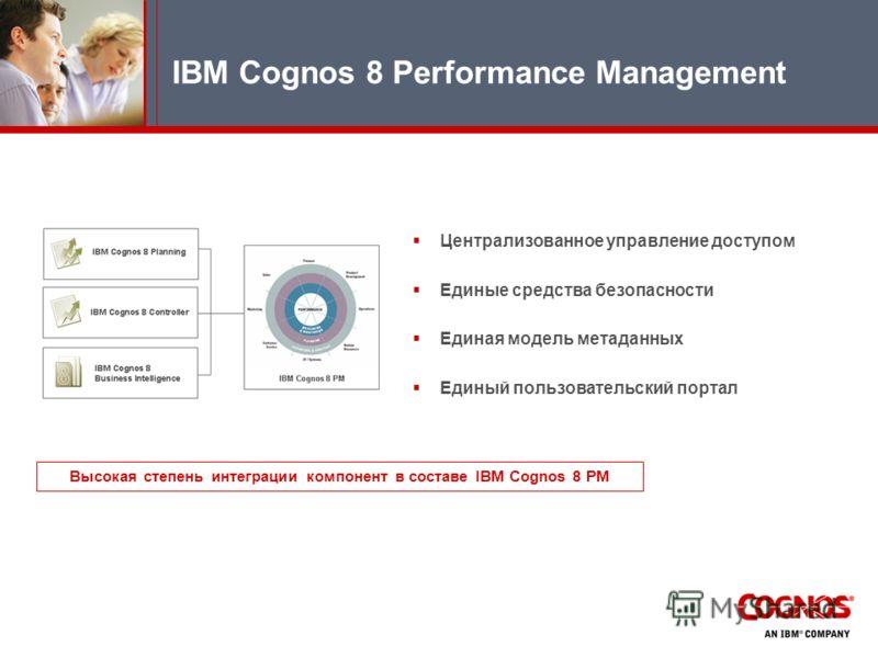 Централизованное управление доступом Единые средства безопасности Единая модель метаданных Единый пользовательский портал IBM Cognos 8 Performance Management Высокая степень интеграции компонент в составе IBM Cognos 8 PM