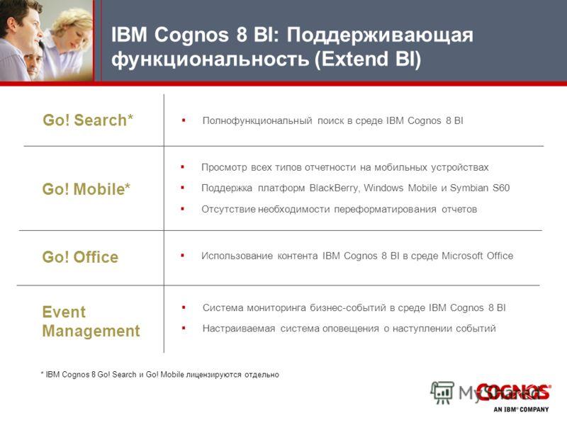 Go! Search* Go! Mobile* Go! Office IBM Cognos 8 BI: Поддерживающая функциональность (Extend BI) Полнофункциональный поиск в среде IBM Cognos 8 BI Просмотр всех типов отчетности на мобильных устройствах Поддержка платформ BlackBerry, Windows Mobile и
