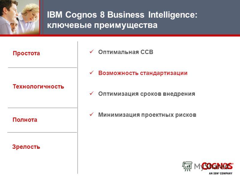 Простота IBM Cognos 8 Business Intelligence: ключевые преимущества Технологичность Полнота Зрелость Оптимальная ССВ Возможность стандaртизации Оптимизация сроков внедрения Минимизация проектных рисков