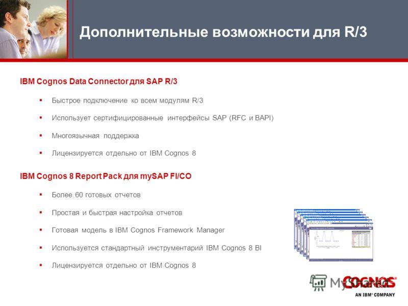 IBM Cognos Data Connector для SAP R/3 Быстрое подключение ко всем модулям R/3 Использует сертифицированные интерфейсы SAP (RFC и BAPI) Многоязычная поддержка Лицензируется отдельно от IBM Cognos 8 IBM Cognos 8 Report Pack для mySAP FI/CO Более 60 гот