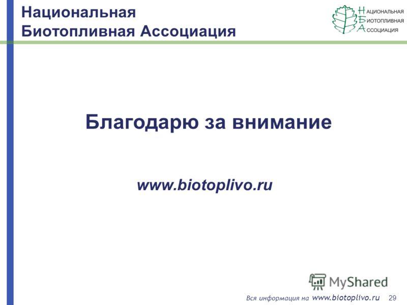 29 Вся информация на www.biotoplivo.ru Благодарю за внимание www.biotoplivo.ru Национальная Биотопливная Ассоциация